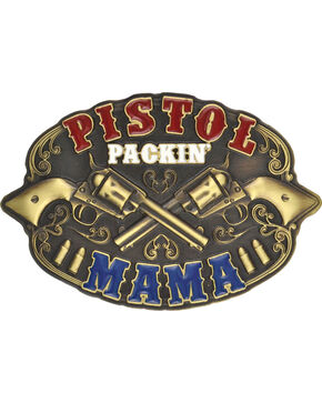 Montana Silversmiths Pistol Packin' Mama Belt Buckle, Antique Brass, hi-res