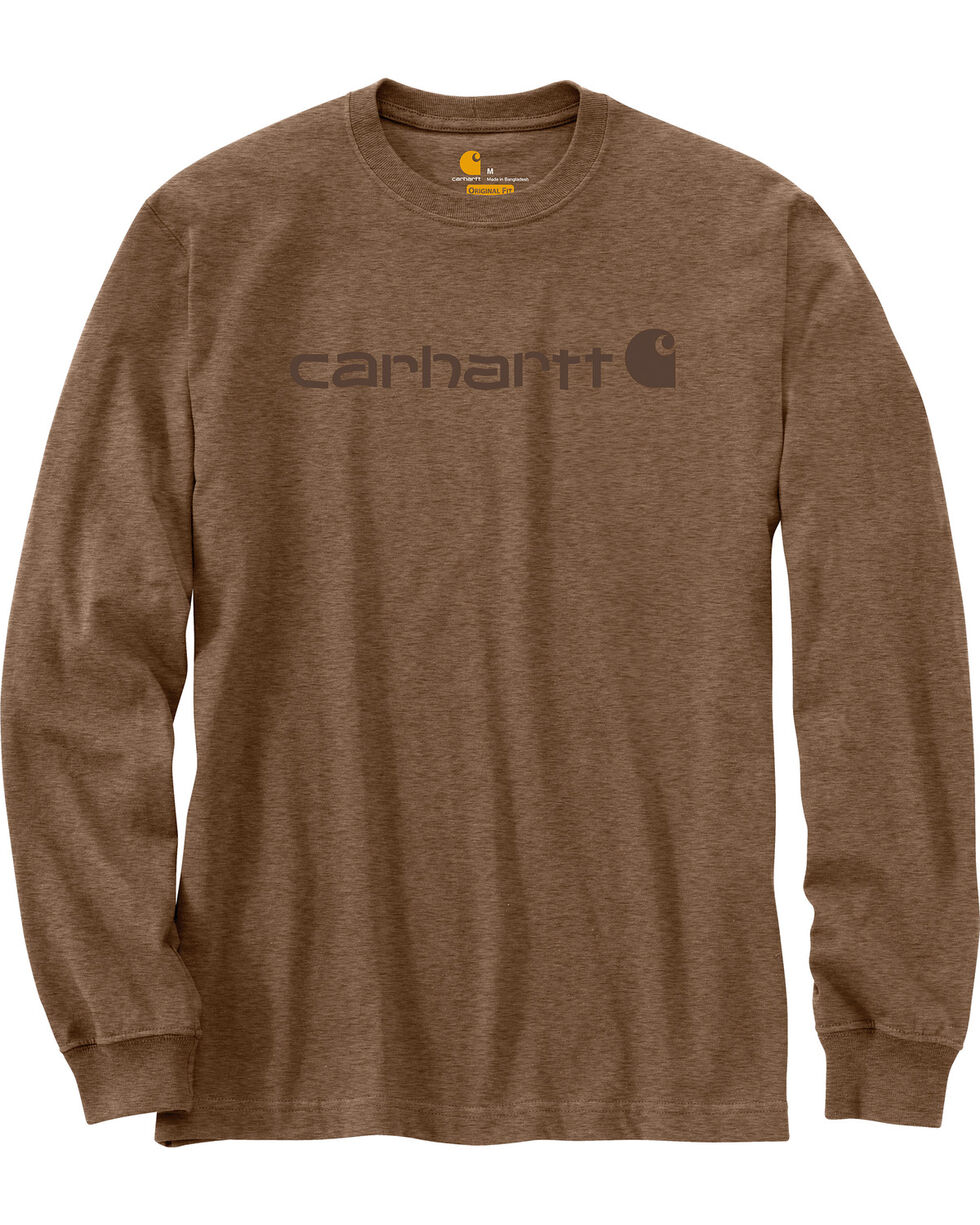Carhartt Signature Logo Sleeve Knit T-Shirt - Big & Tall, Brown, hi-res