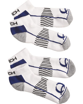 Cinch Men's White Athletic Ankle Socks (2-Pack), White, hi-res