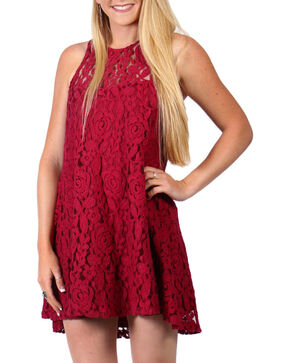 Shyanne®  Women's Flare Lace Dress, Burgundy, hi-res