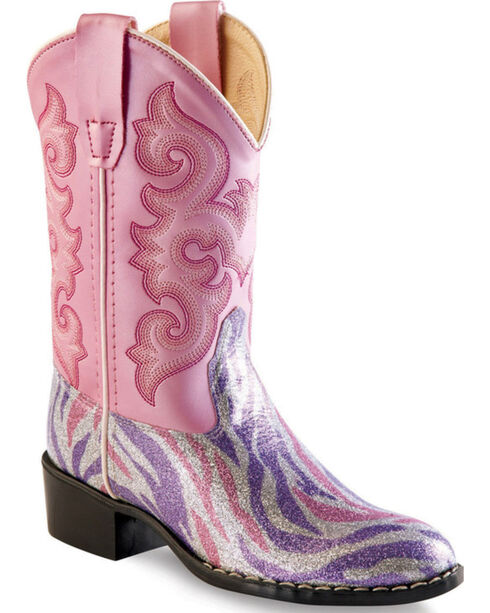 Old West Girls' Pink and Purple Zebra Stripe Western Boots - Round Toe , Pink, hi-res