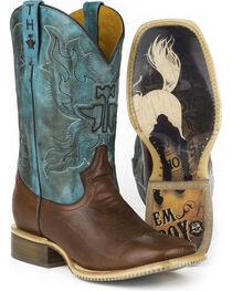 Tin Haul Men's Bronco Rider Sole Cowboy Boots - Square Toe , , hi-res