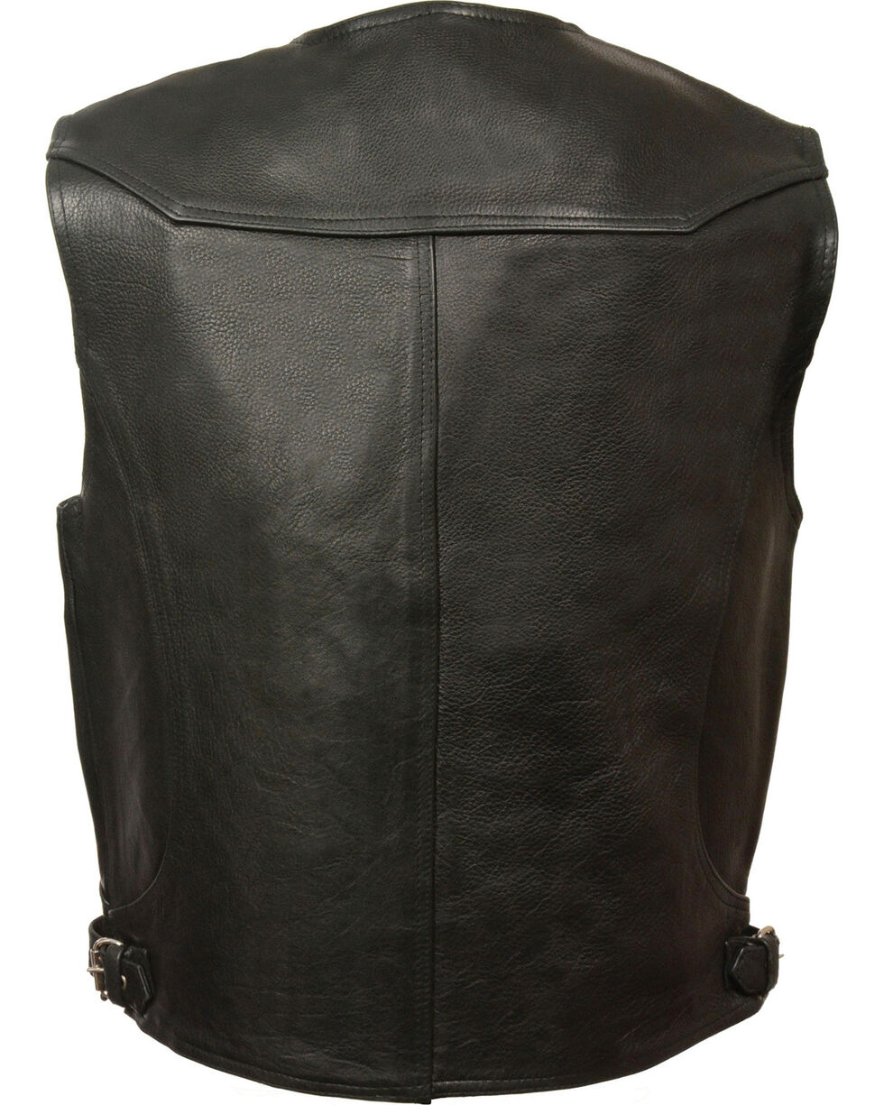 Milwaukee Leather Men's Black Deep Pocket Vest - Big 5X , Black, hi-res