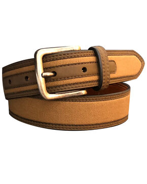 John Deere Boys' Brown Canvas Inlay Belt , Brown, hi-res