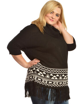 Derek Heart Fringe Cowlneck Black & White Poncho - Plus, Black, hi-res