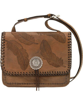 American West Women's Brown Sacred Bird Feather Crossbody Purse , Distressed Brown, hi-res