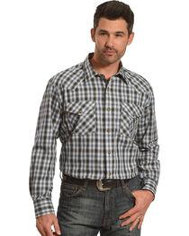 Pendleton Men's Navy Grey Herringbone Plaid Long Sleeve Shirt, , hi-res
