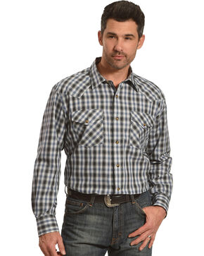 Pendleton Men's Navy Grey Herringbone Plaid Long Sleeve Shirt, Navy, hi-res