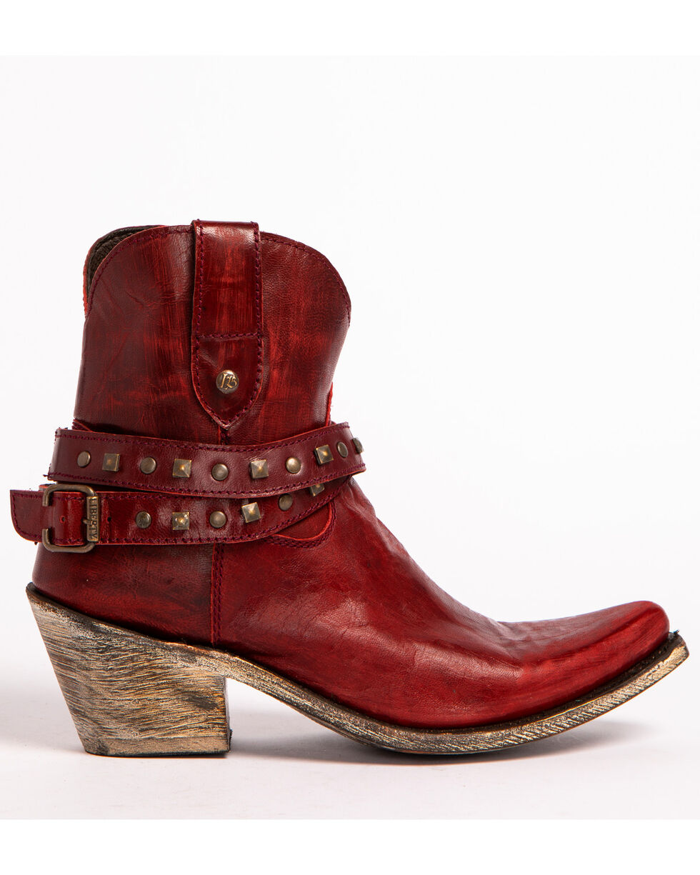 Liberty Black Women's Red Studded Ankle Strap Booties - Pointed Toe , Red, hi-res
