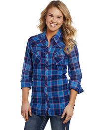 Cowgirl Up Women's Blue Plaid Double Pocket Shirt , , hi-res