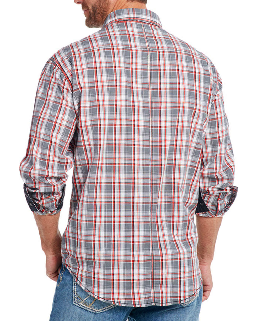 Cowboy Up Men's Plaid Long Sleeve Western Shirt, Grey, hi-res