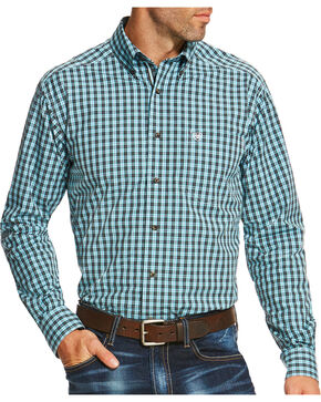 Ariat Men's Teal Pullman Long Sleeve Shirt , Teal, hi-res