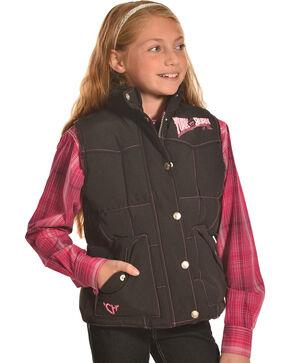 Cowgirl Hardware Girls Black Turn & Burn Nylon Vest , Black, hi-res