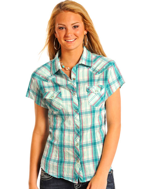 Panhandle Slim Women's Short Sleeve Snap Shirt With Rhinestones, Blue, hi-res
