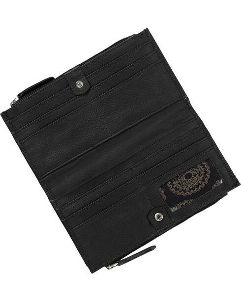 American West Women's Black Southwestern Foldover Snap Closure Wallet , Black, hi-res