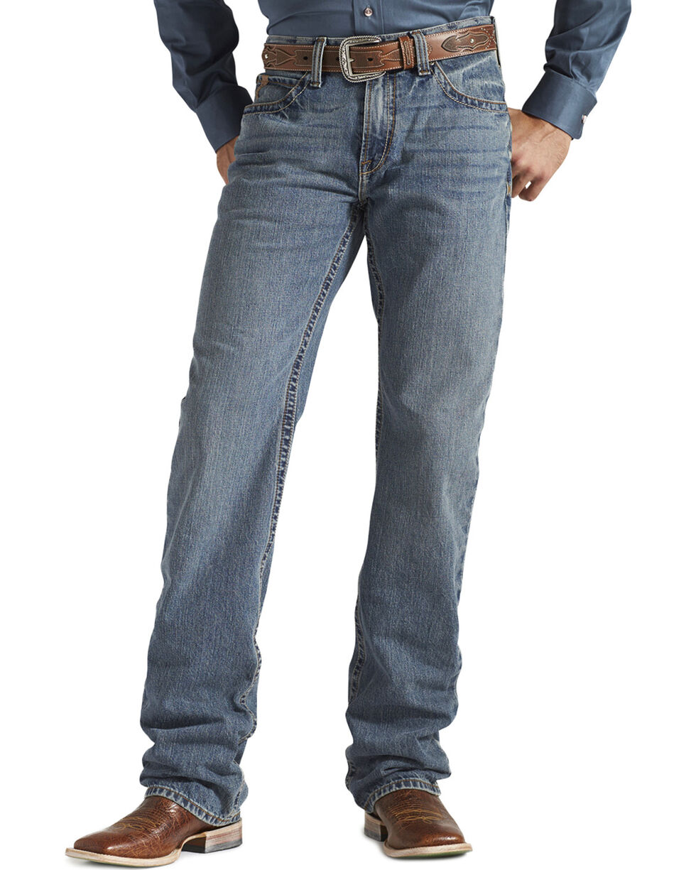 Ariat Men's M2 Smokestack Relaxed Boot Cut Jeans, Denim, hi-res