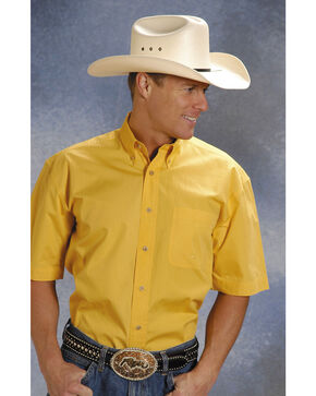 Roper Solid Yellow Poplin Short Sleeve Shirt, Yellow, hi-res