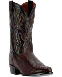 Dan Post Men's Pugh Tobacco Ostrich Western Boots - Round Toe, Brown, hi-res