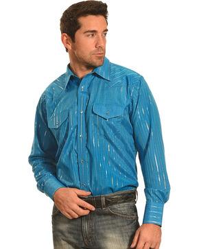 Crazy Cowboy Men's Teal Lurex Western Snap Shirt, Teal, hi-res