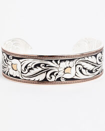 Montana Silversmiths Tri-Colored Floral Cuff Bracelet, , hi-res