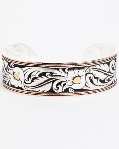 Montana Silversmiths Tri-Colored Floral Cuff Bracelet, Silver, hi-res