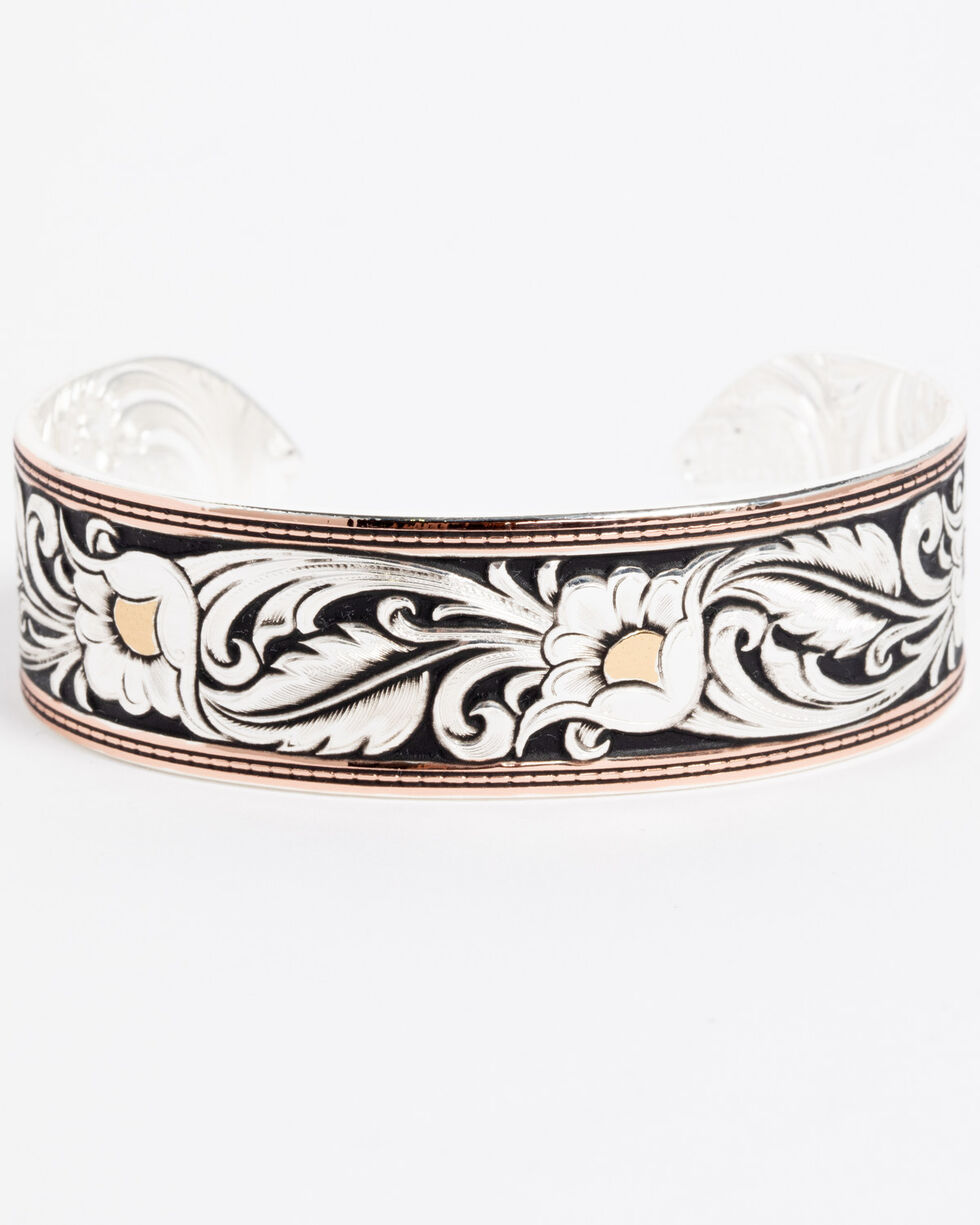 Montana Silversmiths Tri-Colored Floral Cuff Bracelet, Silver, hi-res