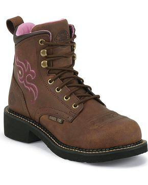 "Justin Original Work Women's Gypsy Steel Toe 6"" Lace Up Work Boots, Aged Bark, hi-res"