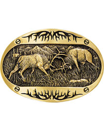 Montana Silversmiths Fighting Elk Belt Buckle, , hi-res