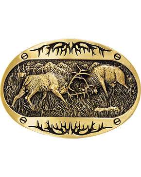 Montana Silversmiths Fighting Elk Belt Buckle, Gold, hi-res