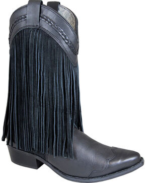 Smoky Mountain Rosie Black Fringe Cowgirl Boots - Snip Toe, Black, hi-res