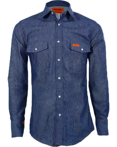 Wrangler Flame Resistant Western Work Shirt - Big , Blue, hi-res