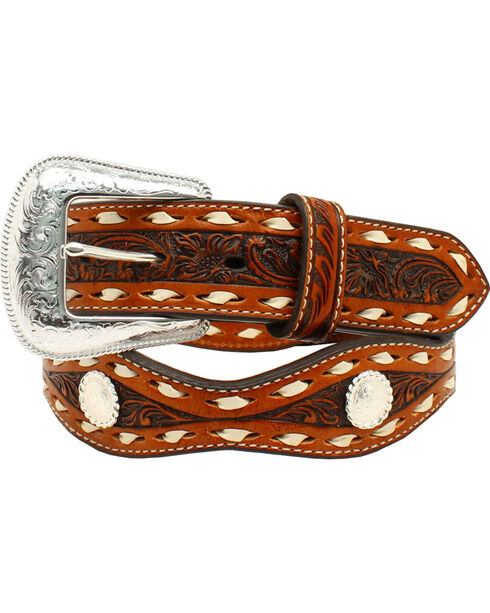 Nocona Floral Tooled Scalloped Round Concho Belt, Tan, hi-res