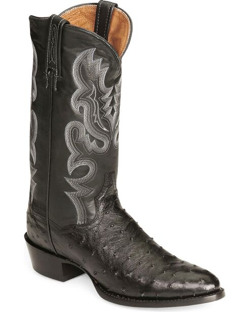 Dan Post Men's Full Quill Ostrich Western Boots, Black, hi-res