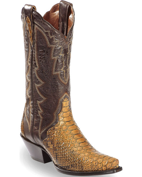 Dan Post Women's Back Cut Python Triad Cowgirl Boots - Snip Toe, Taupe, hi-res