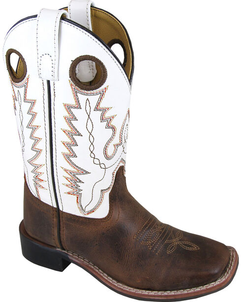 Smoky Mountain Boys' White Jesse Western Boots - Square Toe , Brown, hi-res