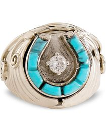 Handmade Turquoise Horseshoe Sterling Silver Ring, , hi-res
