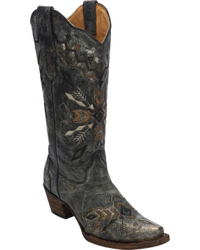 Corral Women's Embroidered Western Boots, Black, hi-res