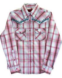 Cowgirl Hardware Toddler Girls' Vine Trim Rhinestone Long Sleeve Shirt, , hi-res