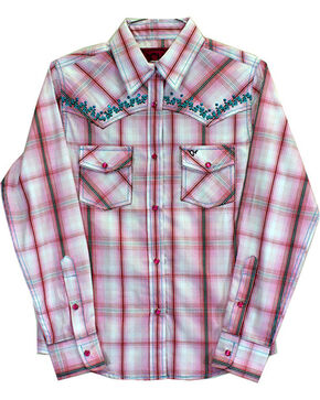 Cowgirl Hardware Toddler Girls' Vine Trim Rhinestone Long Sleeve Shirt, Pink, hi-res