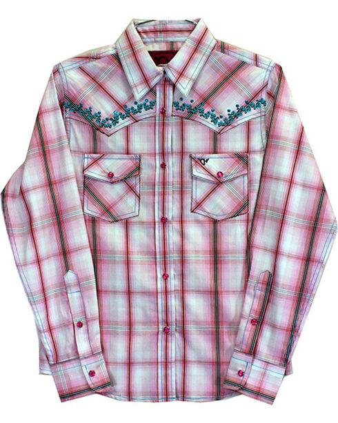 Cowgirl Hardware Toddler Girls' Vine Trim Rhinestone Long Sleeve Shirt, Pink, hi-res