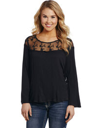 Cowgirl Up Women's Black Lace Yoke Top , , hi-res