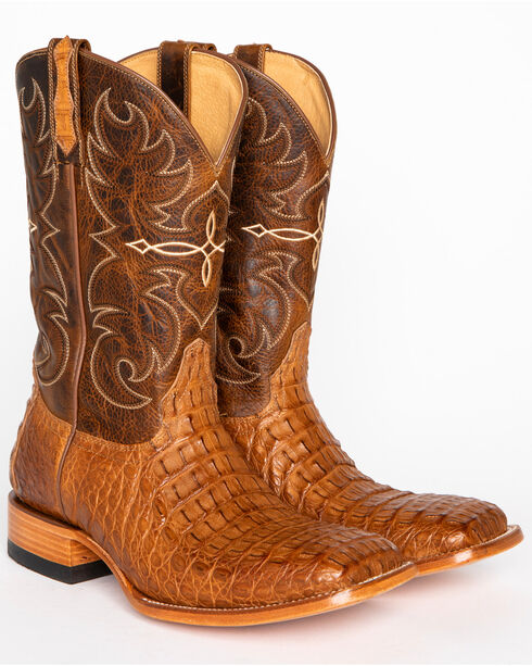 Cody James® Men's Burnished Caiman Exotic Boots, Brown, hi-res