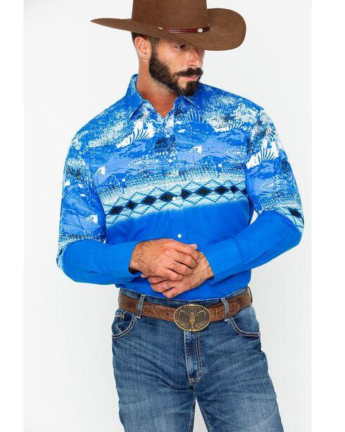 Wrangler Men's Checotah Blue Border Long Sleeve Western Snap Shirt, Blue, hi-res