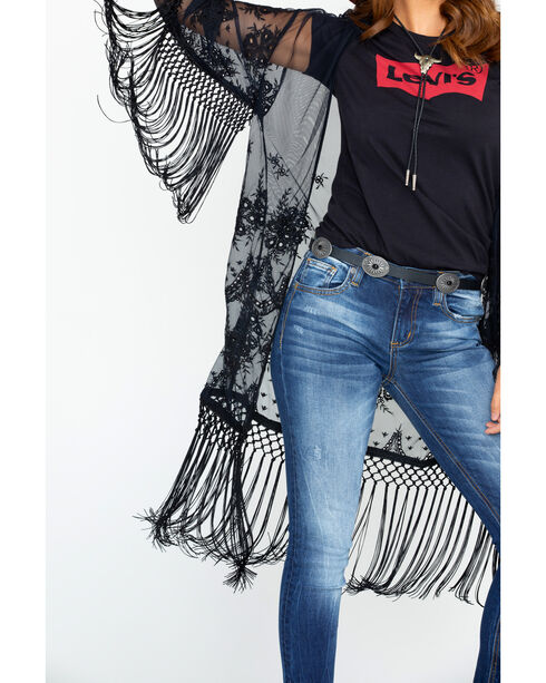 Ariat Women's Black Crochet Fringe Trim Duster, Black, hi-res