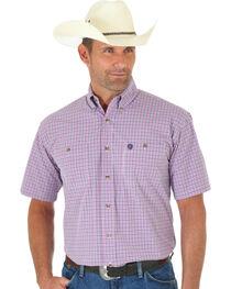 Wrangler George Strait Pink & Navy Plaid Short Sleeve Shirt , , hi-res