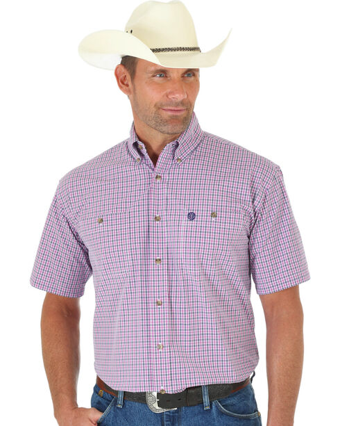 Wrangler George Strait Pink & Navy Plaid Short Sleeve Shirt , Pink, hi-res