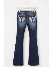 Miss Me Girls' Indigo Angel Wing Embroidered Jeans - Boot Cut , , hi-res