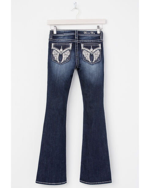 Miss Me Girls' Indigo Angel Wing Embroidered Jeans - Boot Cut , Indigo, hi-res