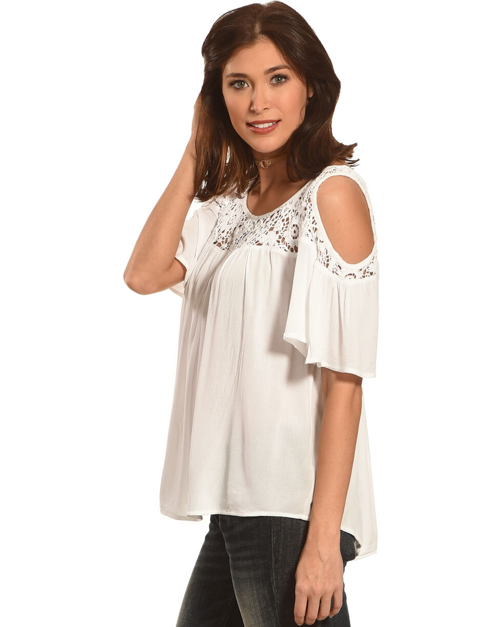 Bila Women's Crochet Lace Cold Shoulder Top , White, hi-res