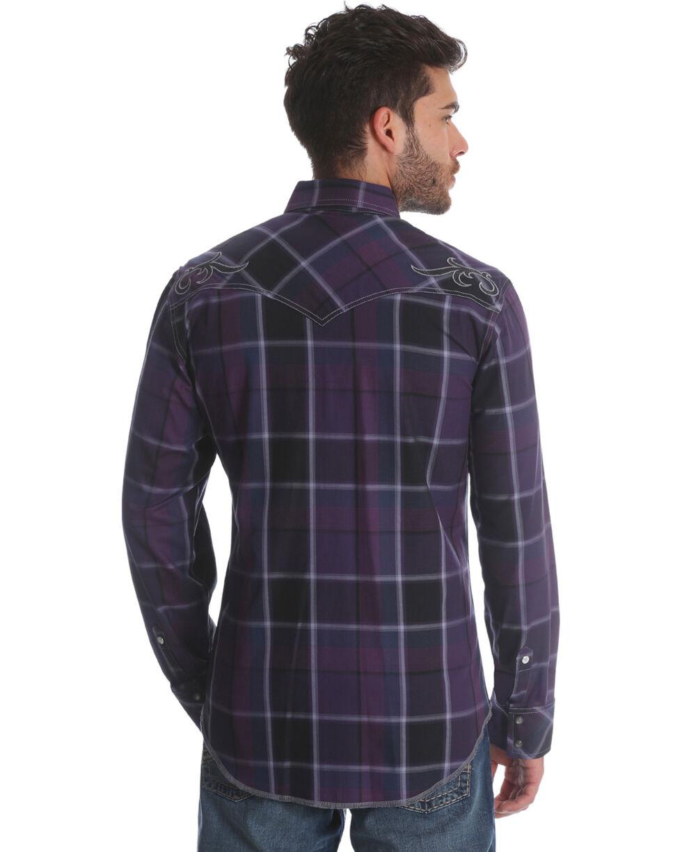 Wrangler Rock 47 Men's Purple Plaid Long Sleeve Western Shirt, Purple, hi-res